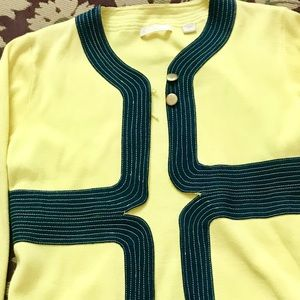 Jackets & Blazers - Yellow cotton jacket with navy blue trim